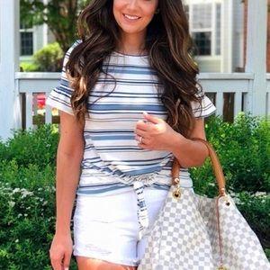 LC Lauren Conrad Stripe Ruffle Tie-Front Tee Shirt